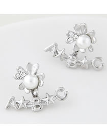 Fashion Silver Pearl Flower Stud Earrings With Diamond Alloy