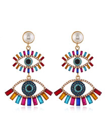 Fashion Color Mixing Pearl Diamond Eye Studded Alloy Stud Earrings