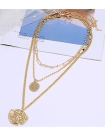 Fashion Golden Coin Embossed Hollow Bead Chain Multi-layer Necklace