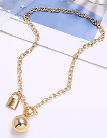 Fashion Golden Lock Ball Alloy Necklace