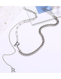 Fashion Silver Alphabet Alloy Stitching Chain Tassel Necklace