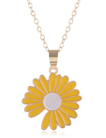 Fashion Yellow Drip Oil Small Daisy Alloy Necklace