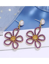 Fashion Purple Pearl Flower Hollow Alloy Stud Earrings