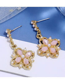Fashion Pink Crystal Four Leaf Flower Alloy Pearl Hollow Stud Earrings