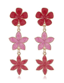 Fashion Red Flower Dripping Alloy Contrast Color Earrings