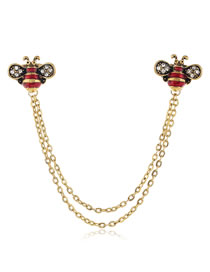 Fashion Red Diamond Alloy Brooch With Bee Chain