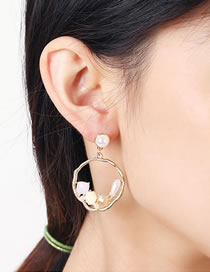 Fashion Beige Crystal Pearl Alloy Round Earrings