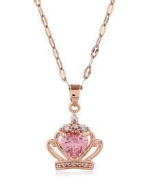 Fashion Pink Copper Micro-inlay Zirconium Crown Love Alloy Necklace