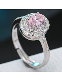 Fashion Pink Zircon Inlaid Round Color Contrast Alloy Open Ring