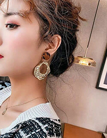 Fashion Golden Irregular Concave And Convex Geometric Alloy Earrings