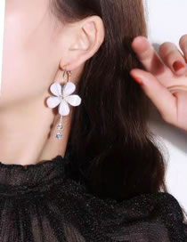 Fashion White Alloy Round Earrings With Diamonds And Flowers