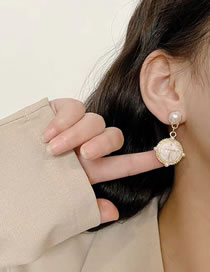 Fashion White Pearl Cross Round Alloy Stud Earrings
