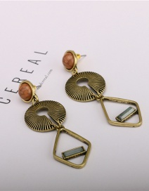 Fashion Golden Turquoise Textured Alloy Handmade Geometric Earrings