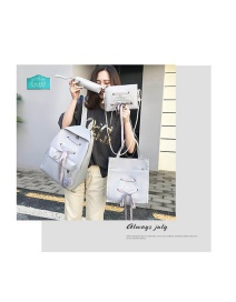 Fashion Gray Four-piece Backpack With Bowknot Tethered Letter Print