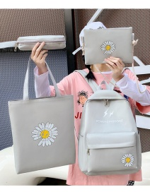 Fashion Gray Four-piece Daisy Print Backpack