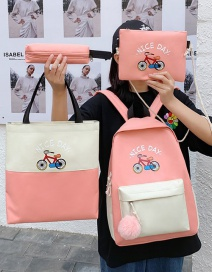 Fashion Pink Four-piece Backpack With Stitching Contrast Color Bike Print