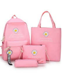 Fashion Pink Four-piece Daisy Letter Print Stitching Contrast Backpack