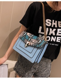 Fashion Blue Large Serpentine Snake Head Lock Chain Diagonal Shoulder Bag