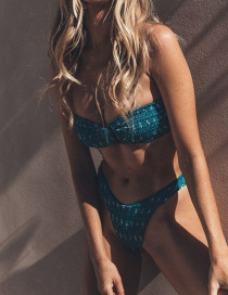 Fashion Green Print Printed Bow Tie And Pleated Split Swimsuit