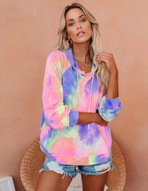 Fashion Red Yellow Blue Tie-dye Hooded Drawstring Long-sleeved Sweater