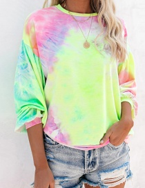 Fashion Fluorescent Green Pink Tie-dyed Loose Pullover Round Neck Long Sleeve Sweater