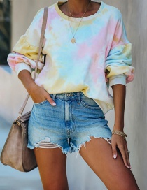 Fashion Light Pink Blue Tie-dye Loose Round Neck Pullover Long Sleeve Sweater