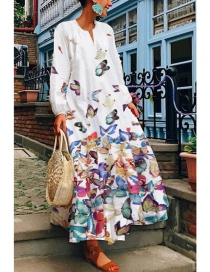 Fashion White Long Sleeve Floral Round Neck Butterfly Print Dress
