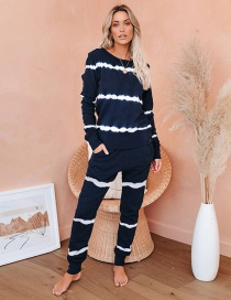 Fashion White Stripe On Blue Background Striped Long-sleeved Top Trousers Two-piece Home Service