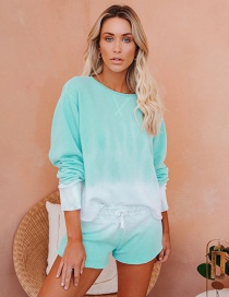 Fashion Blue-green Contrast Color Loose Shorts Long Sleeve Tops Home Service Suit