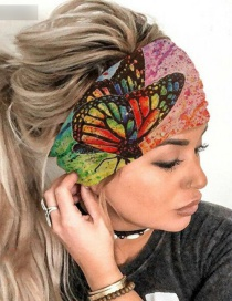 Fashion Pink Elastic Butterfly Print Wide-brimmed Hair Band