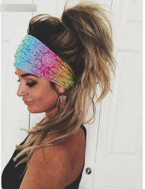 Fashion Color Mixing Geometric Print Stretch Wide-brimmed Hair Band