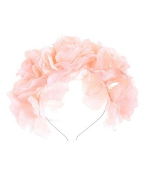 Fashion Pink Simulated Fabric Flowers Hit Color Headband
