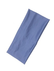 Fashion Haze Blue Wide-brimmed Solid Color Fabric Elastic Hair Band