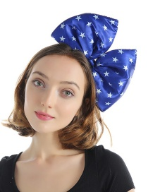 Fashion Star Cloth Large Bow Stitching Contrast Color Printing Headband