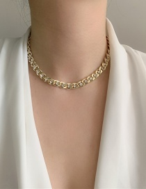 Fashion Necklace Necklace With Alloy Thick Chain And Diamonds