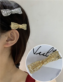 Fashion Gold Bow Hollow Bow Rectangular Alloy Hairpin