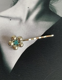 Fashion A Big Flower Light Blue Diamond Flower Hairpin Alloy Hairpin