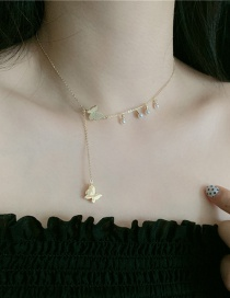 Fashion Golden Butterfly Pearl Tassel Alloy Necklace