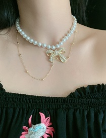 Fashion White Bowknot Pearl Round Bead Chain Alloy Tassel Necklace