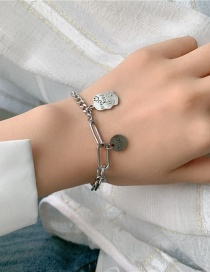 Fashion Silver Stainless Steel Smiley Face Alphabet Stitching Tank Chain Bracelet