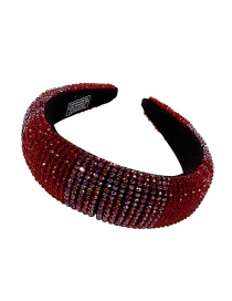 Fashion Red Handmade Rice Beads Crystal Braided Sponge Wide-brimmed Hair Band