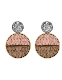 Fashion Color Geometric Round Wooden Rattan Alloy Contrast Color Earrings