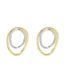 Fashion Golden Alloy Ring Contrast Color Hollow Earrings
