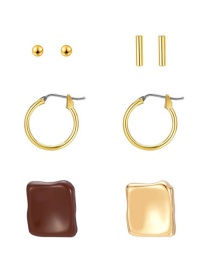 Fashion Golden Alloy Geometric Asymmetric Earrings Set