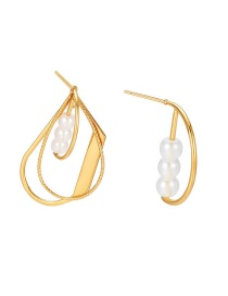 Fashion Golden Alloy Pearl Geometric Asymmetric Hollow Earrings