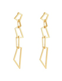 Fashion Golden Alloy Geometric Hollow Earrings
