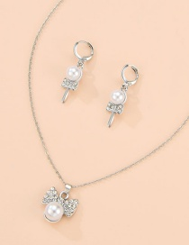 Fashion Silver Alloy Diamond Pearl Bow Necklace Earrings