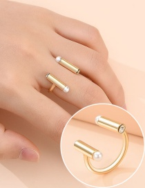 Fashion Golden Alloy Geometric Diamond Pearl Open Ring