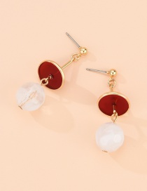 Fashion Golden Alloy Pearl Geometric Round Studs