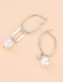 Fashion Silver Alloy Pearl Geometric Rectangular Asymmetric Stud Earrings